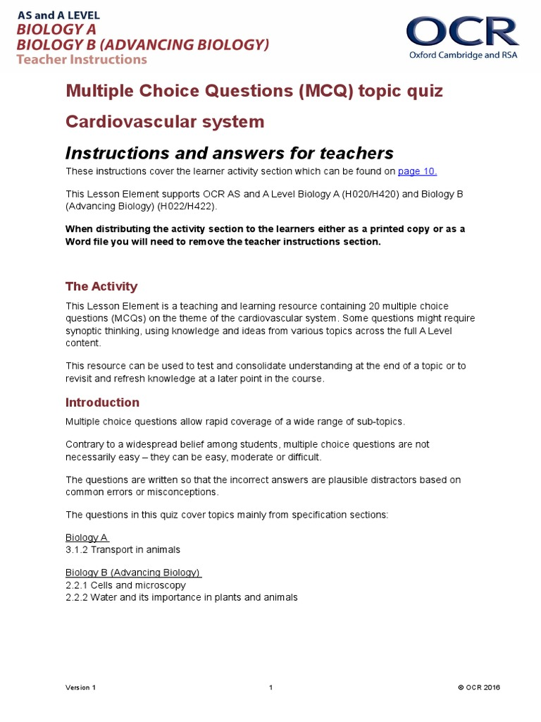 Cardiovascular System Multiple Choice Questions And Answers