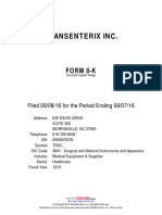 TransEnterix SEC Filing September 8, 2016