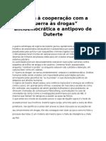 """Por Fim à Cooperação Com a """"Guerra Às Drogas"""" Antidemocrática e Antipovo de Duterte"""