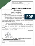 Avaliação de Português 3º Ano 3º Bimestre