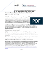 FAQ's. WMCHealth and HealthAlliance Announce Plans to Transform Healthcare in Ulster County-090816