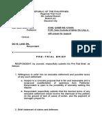 Pre Trial Brief Respondent