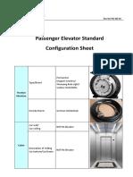 Passenger Elevator Standard Configuration Sheet