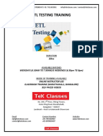 ETL Testing Training Course content