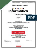 Informatica MDM Training Course Content