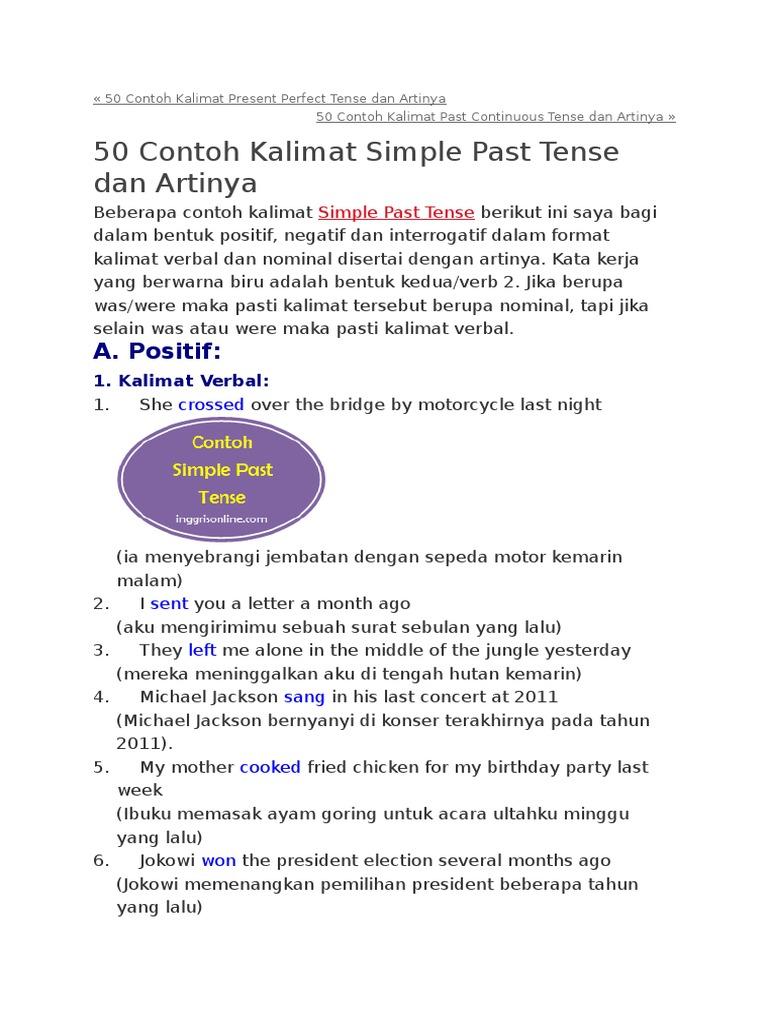 Contoh Kalimat Simple Present Perfect Tense Beserta Artinya Erva