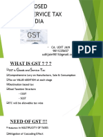 Proposed Goods Service tax