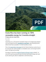 CostaRica Runs Without Fossil Fuel for 150 Days in 2016
