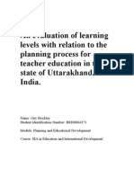 An Evaluation of Learning Levels With Relation to the Planning Process for Teacher Education in the State of Uttarakhand