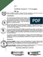 RESOLUCION DE ALCALDIA 116-2010/MDSA
