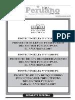 Proyecto de Ley de Presupuesto del Sector Público para el Año Fiscal 2017 - Proyecto de Ley de Endeudamiento del Sector Público para el Año Fiscal 2017 - Proyecto de Ley de Equilibrio Financiero del Presupuesto del Sector Público para el Año Fiscal 2017