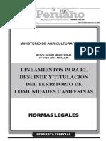 Lineamientos para el deslinde y titulación del territorio de Comunidades Campesinas