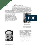 HISTORIA BREVE DE LA QUÍMICA TEÓRICAQUÍMICA TEÓRICA