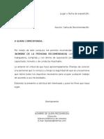 Ejemplo Carta de Recomendacion