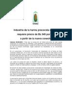 Industria de la harina precocida de maíz requiere precio de Bs 345 por kilo a partir de la nueva cosecha