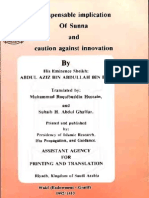 Indispensable implication Of Sunna and caution against innovation