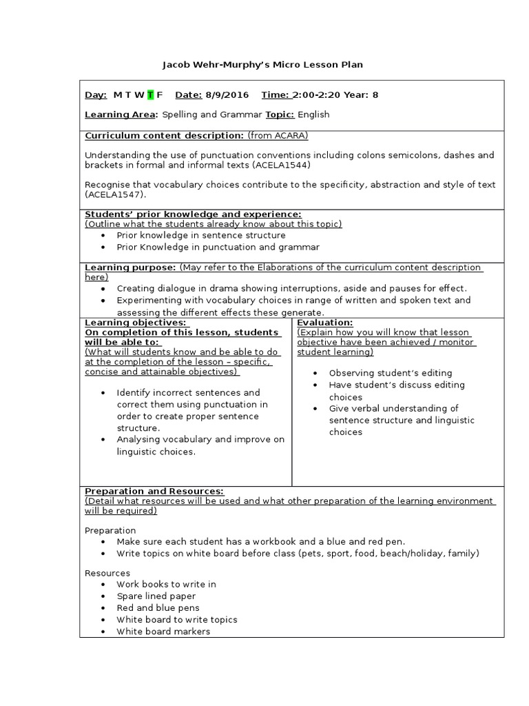 Workbooks grammar and punctuation workbook : jacobs micro lesson plan   Question   Punctuation