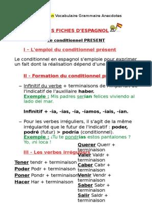 Mes Fiches D Espagnol I L Emploi Du Conditionnel Present Langue Espagnole Conjugaison