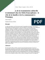 Défis et Enjeux de la Transmission Culturelle et Identitaire Chez les Métis Francophones