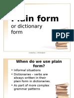 Plain Form Verbs