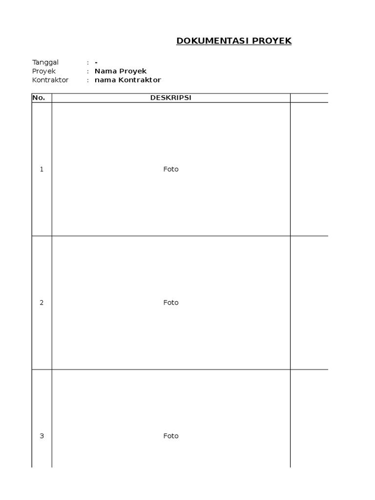 Contoh Form Dokumentasi Proyek