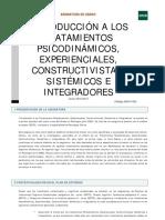 Intro Ttos.psicodinámicos, Experienciales, Constructivistas e Integradores