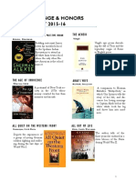 Challenge and Honors Reading List 2015 16