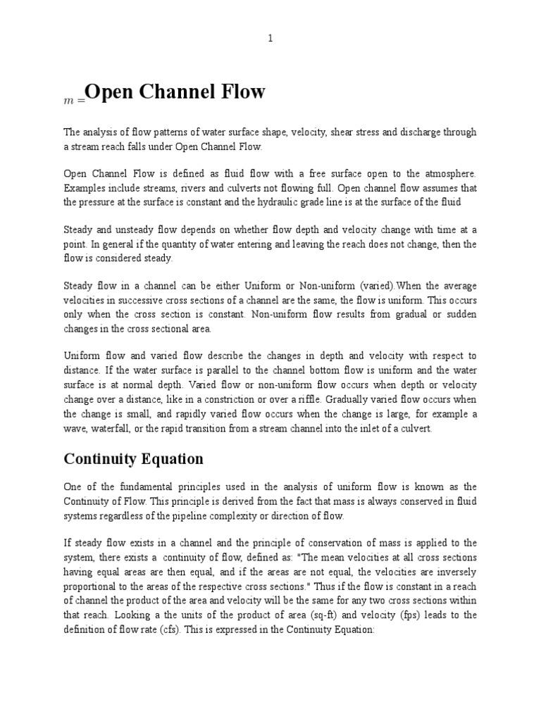 Open Channel Flow docx | Fluid Dynamics | Civil Engineering