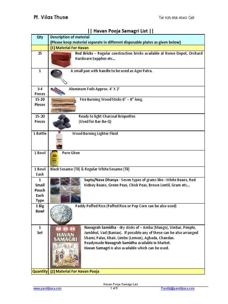 havan pooja - samagri pdf | Nature | Foods