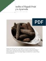 Health Benefits of Pippali Fruit According to Ayurveda