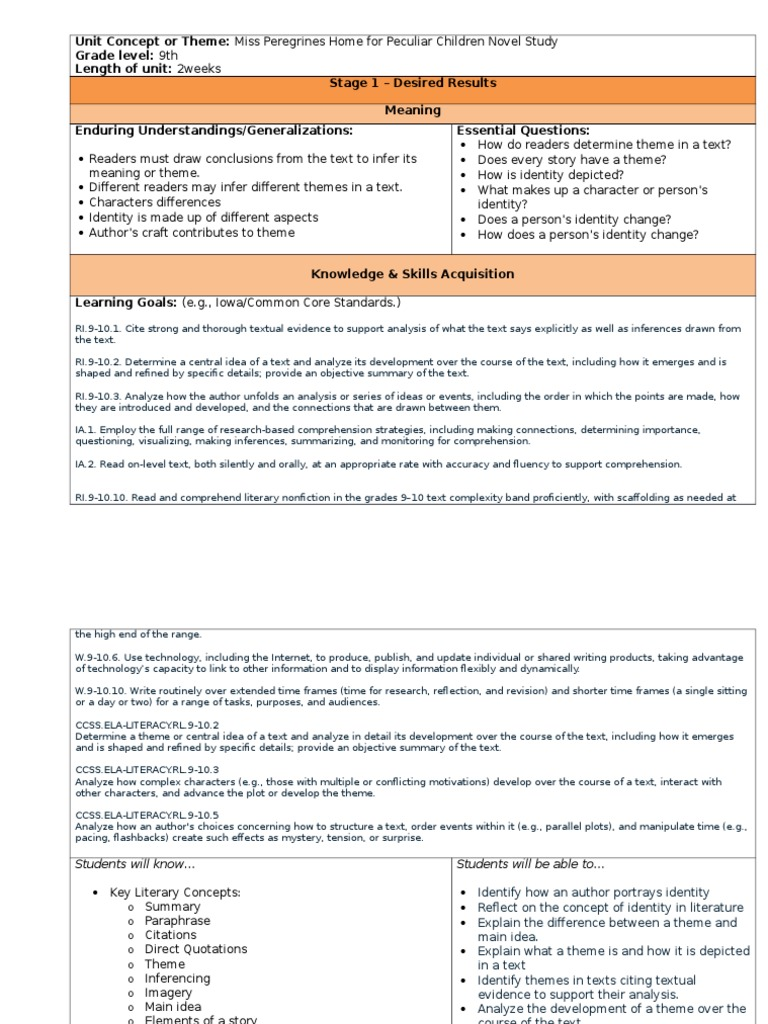 Unit Concept or Theme   Reading Comprehension   Learning