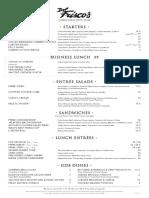 Del Frisco's Double Eagle Steak House lunch menu