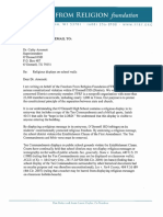 FFRF Religious Displays Letter to O'Donnell ISD Superintendent