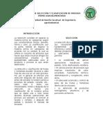 PRUEBAS DE SELECCIÓN Y CLASIFICACION DE MATERIA PRIMA AGROALIMENTARIA