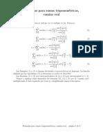 Formulas for Trigonometric Sums Real Approach Es