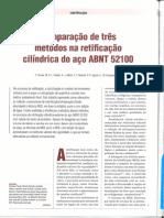 Comparação de três métodos na retificação cilíndrica do aço ABNT52100