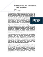 Carta de Mariella Balbi a la Presidenta Del Congreso, Luz Salgado