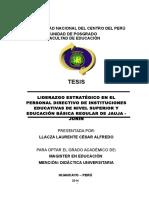 LIDERAZGO ESTRATÉGICO EN EL PERSONAL DIRECTIVO DE INSTITUCIONES EDUCATIVAS DE NIVEL SUPERIOR Y EDUCACIÓN BÁSICA REGULAR DE JAUJA - JUNÍN