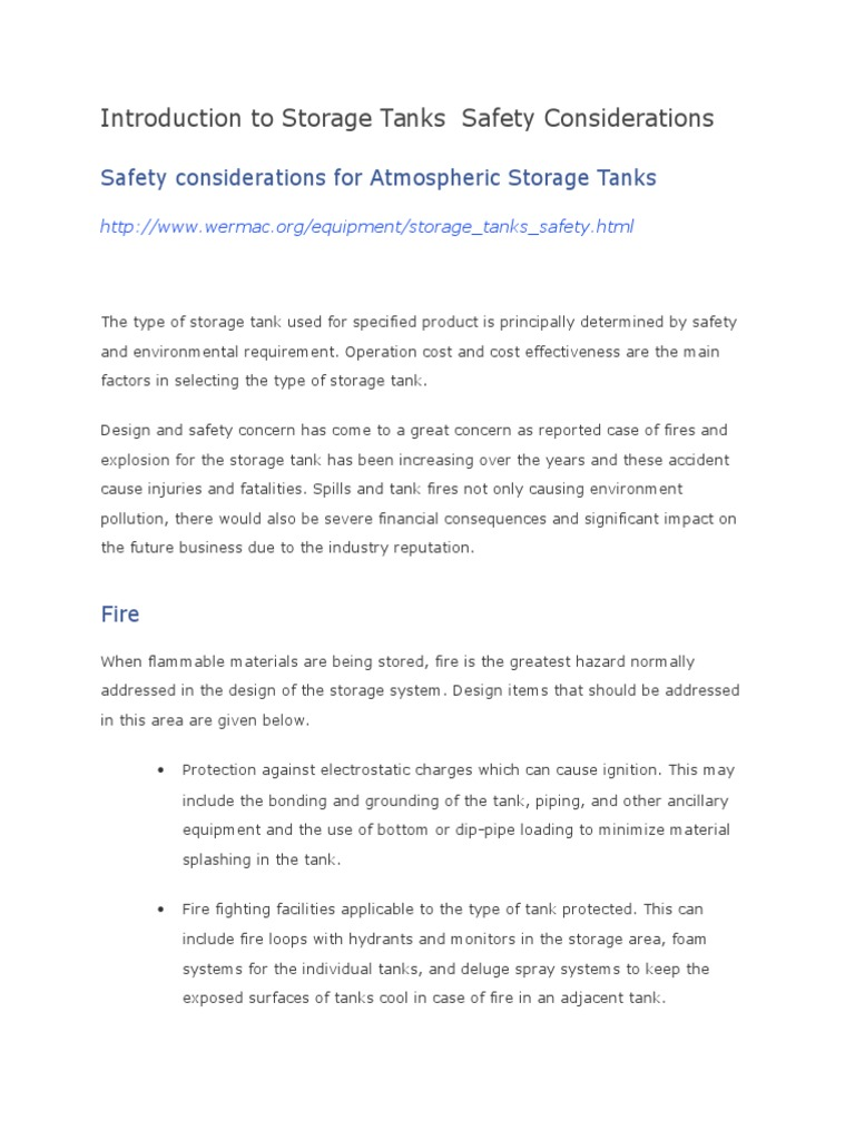 Introduction to Storage Tanks Safety Considerations | Steam