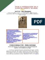 Heidegger, Hegel Int de La Fenomenología