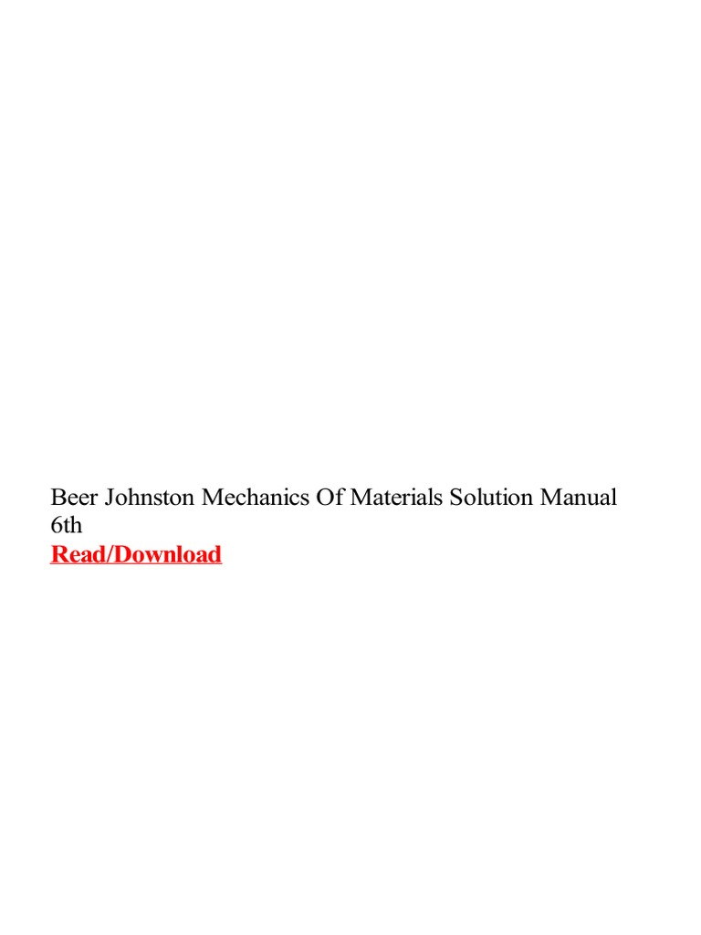 Beer johnston mechanics of materials solution manual 6th pdf fandeluxe Image collections