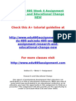 ASH EDU 695 Week 4 Assignment Research and Educational Change NEW