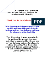 ASH ESE 633 Week 1 DQ 1 History and Service Delivery Options for Students With Disability