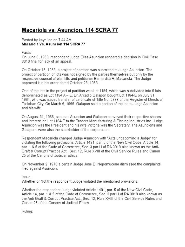 Macariola vs Asuncion, 144 SCRA 77 | Lawsuit | Judiciaries