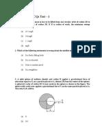 Gravitation MCQs Test