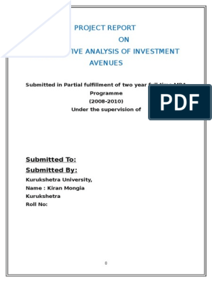 Various investment avenues in india pdf to word miller investments brewton al