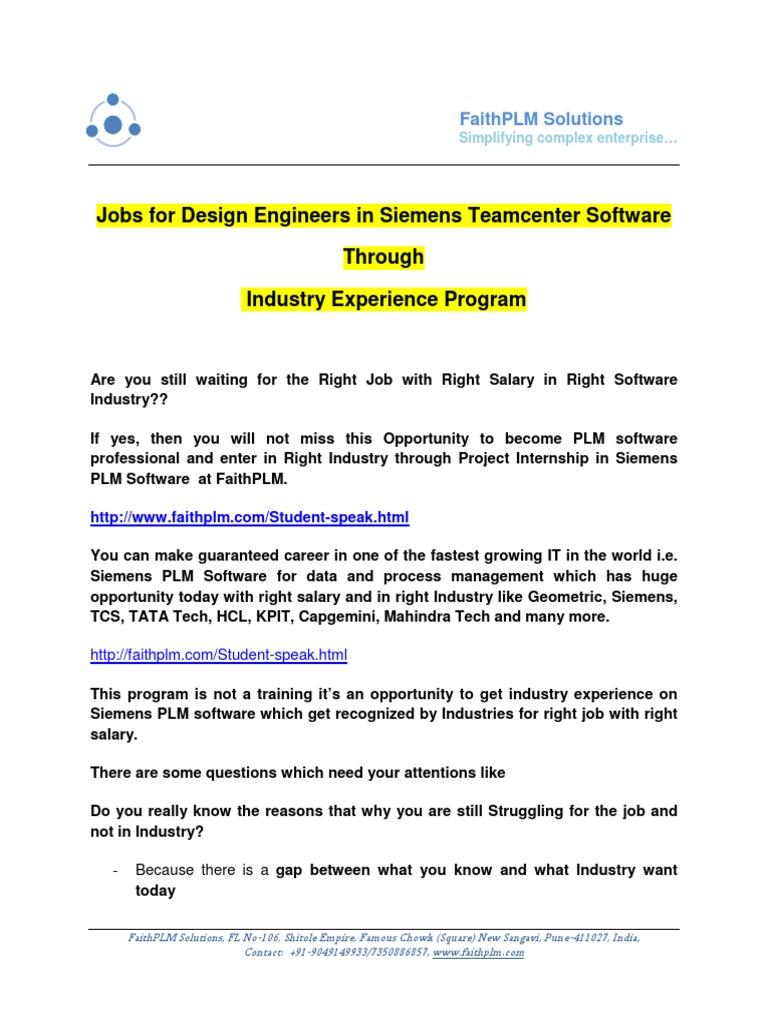 jobs for design engineers in siemens teamcenter software through