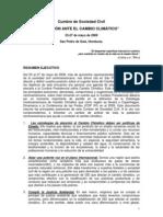 """Declaratoria de Sociedad Civil Cumbre Paralela  """"Acción ante el cambio climático"""""""