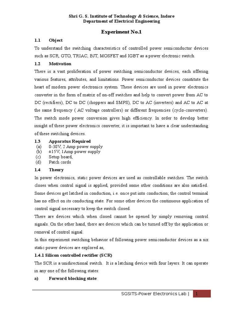 Pg Power Elex Lab Manual1 Electronics Rectifier Triac Triggering Circuit Using Diac Here In This The Light