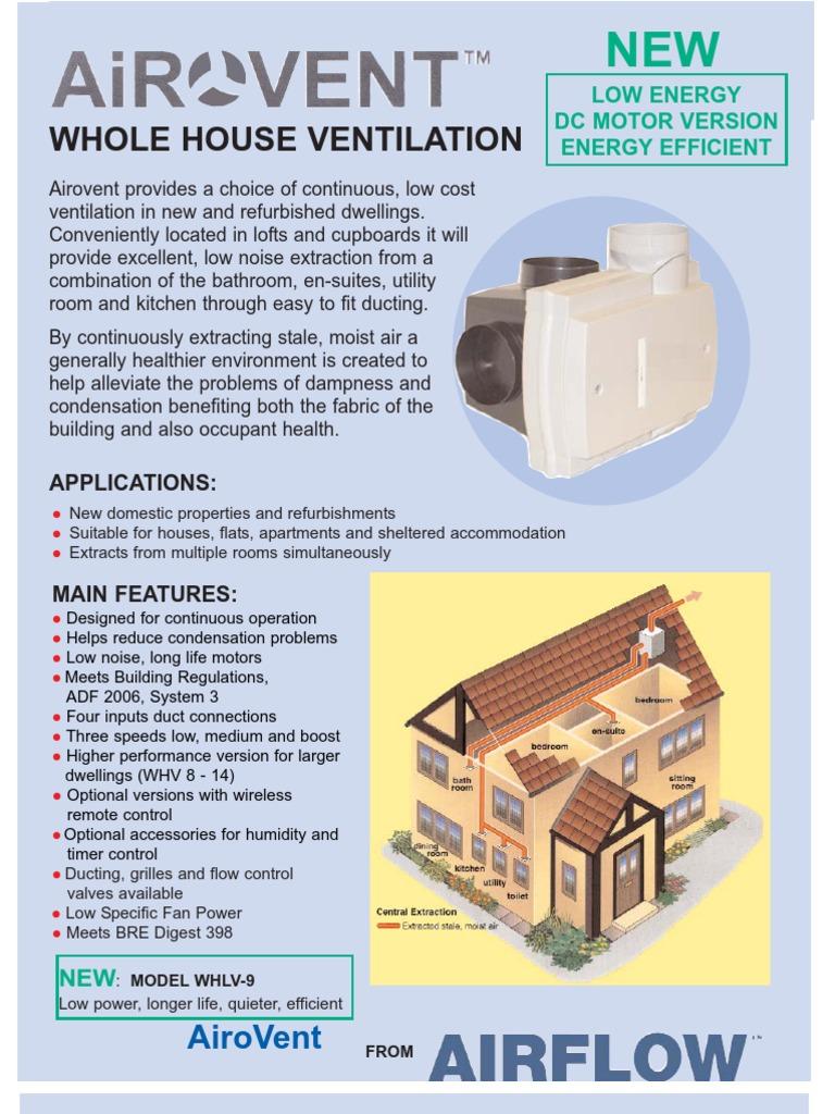 Airflow Airovent Aventa whole house ventilation | Ventilation